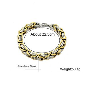 Wholesale byzantine stainless steel bracelet resale online - bracelet Stainless steel gold plated domineering Bracelet Byzantine men s imperial chain Cuba