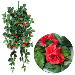 Wholesale artificial flowering plants resale online - Artificial Hanging Rose Flowers Garden Decoration Colors Eco friendly Leaf Garland Plants Vine Leaves DIY For Home Wedding Party OOD5988