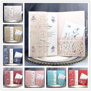 Wholesale laser cut wedding invitation pockets resale online - Personalized Wedding Invitation Cards Full Set Laser Cut Hollowed out Pocket Greeting Cards For Engagement Birthday Party Wedding GWC7611