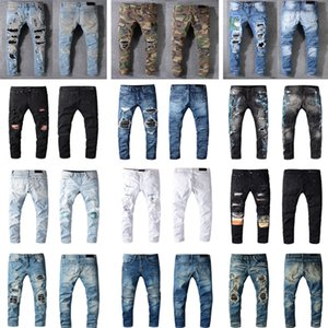Luxurys Designers Jeans Distressed France Fashion Pierre Straight Men's Biker Hole Stretch Denim Casual Jean Men Skinny Pants Elasticity Male Ripped Trousers