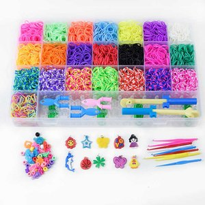 Wholesale bracelet rubber band sets resale online - Loom bands rainbow hand woven DIY rubber band bracelet set upgrade lattice pieces