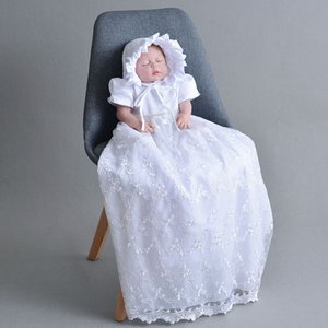 Wholesale baby hat embroidery for sale - Group buy Baby Girl White Baptism Dress Bebe Boutique Lace Embroidery Lengthen Christening Gown with Hat Outfits Dress for Infant Newborn