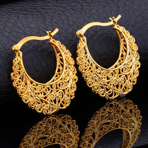 Wholesale Hot Item K Real Gold Plated Hollow Flowers Hoop Earrings Basketball Wives Earrings Fashion Jewelry for Women