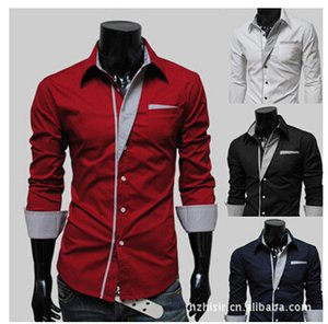 luxury Hot sale summer men camisa social splice popular herren hemden slim fit Lapel mens dress shirts on Sale