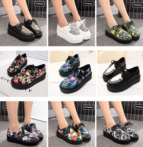 Wholesale 2015 New Fashion Women Spring Autumn British Goth Punk Creepers Flats Printed Styles Lace up Skull Boat Shoes