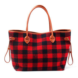 Wholesale Oversized Buffalo Red Black Plaid Tote Bag with Light Brown PU Handle and Woolen Cloth Material for Christams Gift