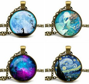 Wholesale Mysterious Pattern Round Pendant Necklaces Peace Symbol Mermaid Starry Sky Charms Necklaces Bronze Chain Fine Jewelry Chirstmas Gifts K569