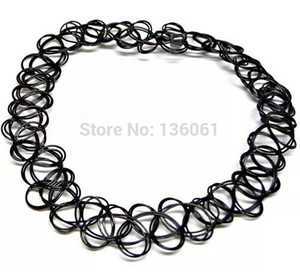 Wholesale Vintage Black Tattoo Elastic Stretch Charms Statement Choker Strings Necklaces Pendants Women Jewelry Punk Grunge DIY Fashion Q483