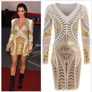 Wholesale Women Kim Kardashian Dress Long Sleeve Ladies Gold D Printed Foil Aztec Bodycon Dresses Sexy V Neck