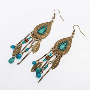 Wholesale Bohemia Style Drop shaped Vintage Leaves Ear Jewelry Women Exaggerated Long Dangle Tassels Resin Beads Earrings For Carnival Club Bar Party