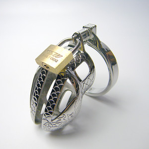 Dragon lines design Stainless Steel chastity device cockcage penis cock cage with Snap Ring clamp & Padlock 947