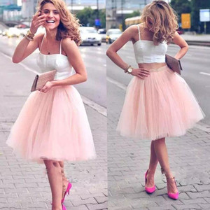 Adorable Bust Skirts Short Knee Length Party Tutu Dress Blush Pink Soft Tulle Bridesmaid Informal Wear for Wedding on Sale