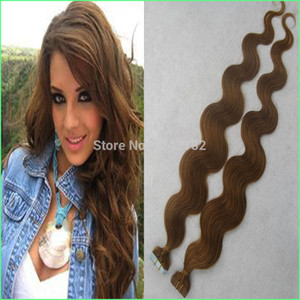 Cheap Thick Tape Extensions Seamless Double Drawn PU Skin Weft tape in human hair extensions Body Wave Light Brown Tape Hair