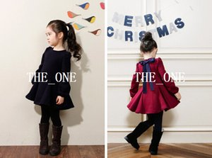 Wholesale autumn girl dress velvet resale online - 2014 autumn winter korean dress girl back bow dress baby girls long sleeve princess dress velvet tutu dresses for girls Colors in stock