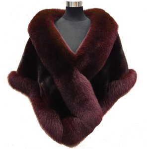 Wholesale Jane Vini Winter Bridal Faux Wrap Capes Shawls Faux Fur Bolero Coats Wedding Wine Red Jacket Stoles For Evening Party Dress Echarpe Mariage