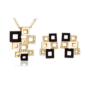 Wholesale gold cubes necklace resale online - Necklace and Earrings Jewelry Sets High Grade Full Rhinestone Cube Jewelry set Abstract square mosaic Jewelry Sets For Women