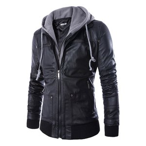 Wholesale- Hot Sale Europe Style Spring Autumn Slim Fit Hooded fake two piece Men's Motorcycle Leather Coat Men Clothing on Sale