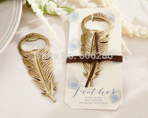 Wholesale Peacock feathers bottle opener gold metal bottle opener favors wedding present gift box wedding favors party door gifts