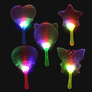 Wholesale New Halloween Christmas Colorful Flash Fan Light emitting fan Pushan advertising Gift LED Flash light Fan Toys C100