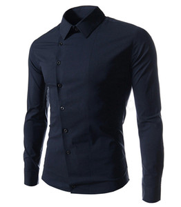 Wholesale Chemise Homme Design Oblique Breasted Mens Long Sleeve Dress Shirts Casual Stylish Camisa Masculina