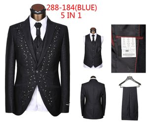 Wholesale-Latest Designs (Jackets+Pants+Vest+Tie+Handkerchief) tailor made suits for men wedding dress custom mens 5 piece suit Blazers