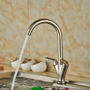 Wholesale nickel brushed for sale - Group buy And Retail Promotion Nickel Brushed Kitchen Faucet Swivel Spout Vessel Sink Mixer Tap Deck Mounted Hot and Cold Water