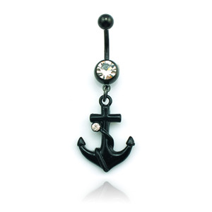 Wholesale High Quantity Fashion Belly Button Rings Stainless Steel Dangle Black Anchor Navel Body Piercing Jewelry DQK0800
