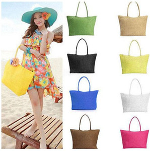 Wholesale Women Summer Straw Weave Shoulder Totes Shopping Lady Beach Bag Purse Handbag Straw Shoulder Tote Shopper Purses colors