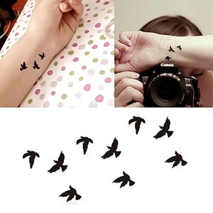 Wholesale fake wrist tattoos resale online - 10 x6cm Women Sexy Finger Wrist Flash Fake Tattoo Stickers Liberty Small Birds Fly Waterproof Temporary Tattoos Sticker