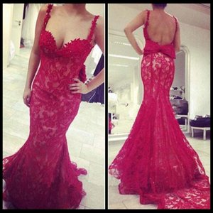 Wholesale 2016 Backless Red Lace Evening Dresses Spaghetti Sweetheart Straps Mermaid Dress Sweep Train Bow Formal Prom Gowns With Beaded