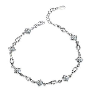 Wholesale Crystal jewelry charm bracelet chain pulseras square shaped new arrival girl fashion sterling silver jewelry