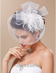 Wholesale Top Sale Retro White Feather Tulle Net Birdcage Veil Headpiece Head Veil Wedding Bridal Accessories Wedding Bride Hat