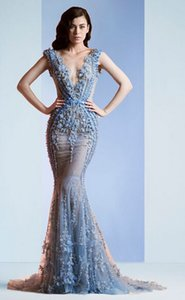 Wholesale Sexy Mermaid 2015 Zuhair Murad Blue Sheer Tulle Lace Evening Dresses Sweep Train Zipper Back Beaded Appliques Prom Dress