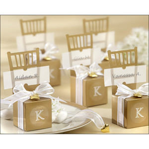 wholesale 100pcs Cute Gold   silver Chair Wedding Favor Candy Boxes+ Ribbon Wedding Package Gift Box baby shower favor gift box