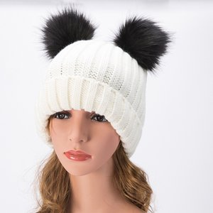Wholesale Europe and the United States New Wool Cap Double Fur Ball Hat Autumn and Winter Cute ladies Knit Hat