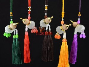 Wholesale Essential Oil Tassel perfume bottle Empty Glass Chinese gourd pendant car pendant hanging Ornament