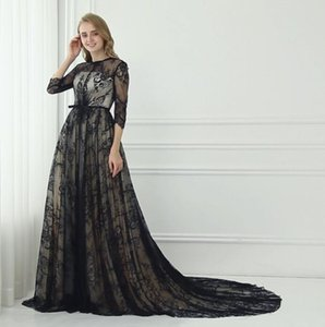 Wholesale Long Sleeve Evening Gowns Black Lace Princess Champagne Cheap Formal Dresses Evening Party Prom Dresses Long New