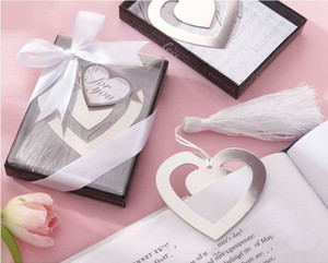 Wholesale Gift Box Silver Beautiful Metal Heart Hollow Bookmark with tassel For Books wedding favors gifts