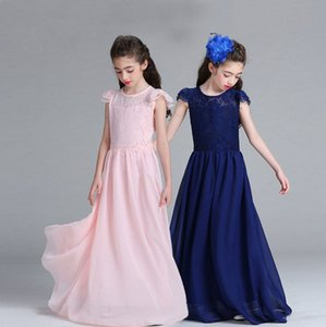 Wholesale Big girls ball gown children prom long dresses kids lace skirts 8 colors girl's boutiques dress Wedding dress hot sale