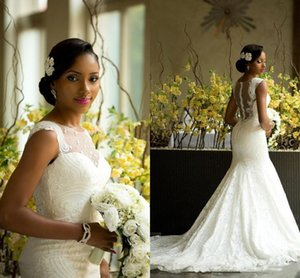Wholesale Amazing African Style Lace Wedding Dresses Sheer Neck Back Covered Buttons Bridal Gowns Plus Size Sweep Train Newest Wedding Dresses