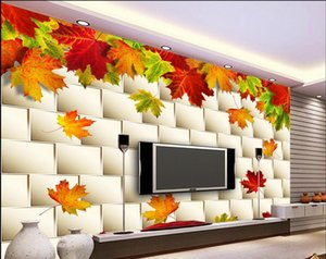 Wholesale wallpapers for bed room Autumn leaves maple leaf three dimensional wallsvc kitchen wall paper
