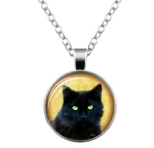 Wholesale 2018 Hot sales black cat Time gem necklace glass Sweater chain Necklace men women Jewelry