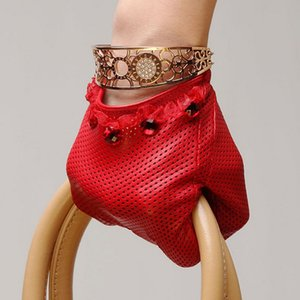 Wholesale- Top Fashion 2017 Women Gloves Wrist Lace Beaded Comfortable Perforated Genuine Leather Solid Goatskin Glove Free Shipping L006N