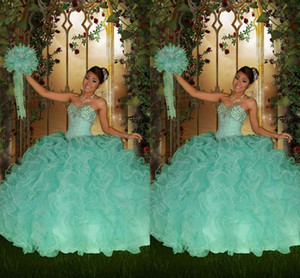 Wholesale 2016 Vintage Mint Green Quinceanera Dresses Ball Gown Sweetheart Lace Up Beaded Crystals Floor Length Tiers Tulle Formal Prom Dress