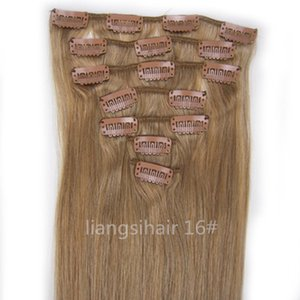 "Wholesale Brazilian Remy Human Hair extensions Weft 22"" 80g 7pcs 16# Ash Blonde Straight Grade 7A Peruvian Indian Malaysian Clip in Hair Bundles"
