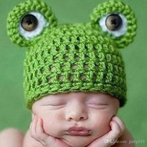 Wholesale Baby Infant Newborn Handmade Crochet Knit Cap Frog Hat Costume Photograph Prop Drop Shipping BB