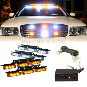 Wholesale 4 LED white green amber red blue changable color Cars Truck Led Flash Strobe Lights V Car Truck Grill Emergency Flash Strobe