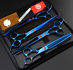 Wholesale purple dragon blue shears set profeessinal pet flat teeth Curved scissors hair scissors set kits scissors sets suit pet scissors