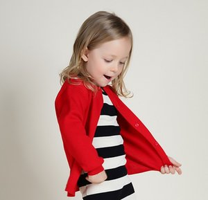Wholesale 2016 Spring New Fashion Children Clothes Girls Solid Big Brand Cardigan Sweaters Kids Casual Knits Tops Red Black Yellow K6085