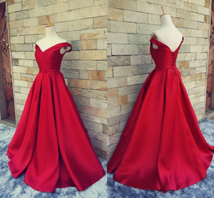 Wholesale 2017 Simple Dark Red Prom Dresses V Neck Off The Shoulder Ruched Satin Custom Made Backless Corset Evening Gowns Formal Dresses Real Image